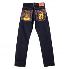 Year of the Dragon Exclusive Design Dark Indigo Raw Denim Jeans