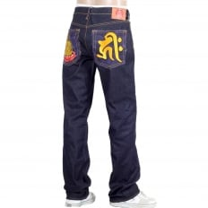 Year Of The Pig Mens indigo vintage cut raw selvedge dark denim jeans
