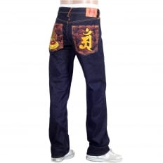 Year of the Snake Exclusive Design Dark Indigo Raw Denim Jeans