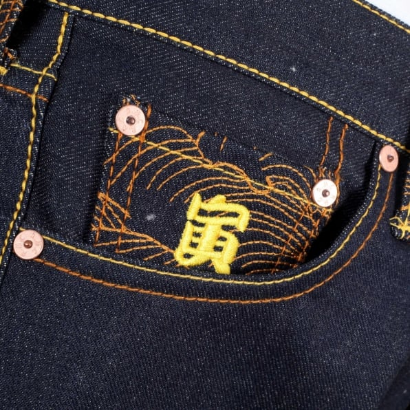 RMC JEANS Year of the Tiger Exclusive Design Dark Indigo Raw Denim Jeans
