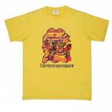 Yellow Crew Neck Mens Short Sleeve Regular Fit T-Shirt with Matsuri Carnival Print