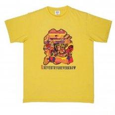 Yellow Crew Neck Mens Short Sleeve Regular Fit T-Shirt with Matsuri Carnival Print