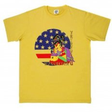 Yellow Crew Neck Regular Fit Geisha T-shirt in 100% Cotton