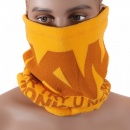 RMC JEANS Yellow Fleece Reversible Neck Warmer Snood with Tsunami Wave Embroidery