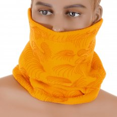Yellow Fleece Reversible Neck Warmer Snood with Tsunami Wave Embroidery