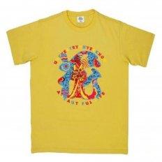 Yellow Regular Fit crew neck short sleeve t-shirt with Shehana Yogahar Flower