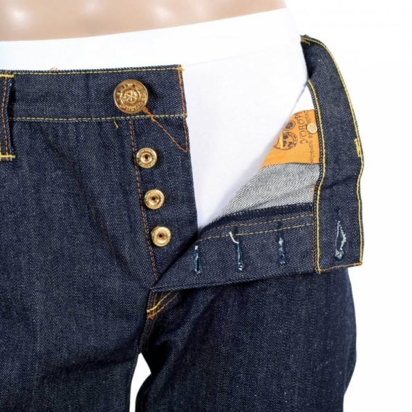 RMC JEANS Yoropiko Collaboration Japanese Raw Indigo Denim Jeans with Fish and Ship Embroidery