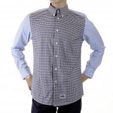 Black and Blue Button Down Collar Long Sleeve Regular Fit Shirt