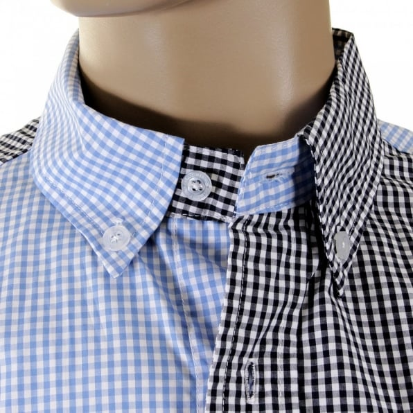 RMC MKWS Blue and Black Button down Collar Long Sleeve Regular Fit Shirt
