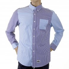 Blue and Navy Button down Collar Long Sleeve Regular Fit Shirt