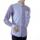 RMC MKWS Blue and Navy Button down Collar Long Sleeve Regular Fit Shirt