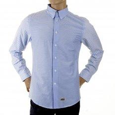 Mens Blue Striped Button Down Collar Long Sleeve Regular Fit Shirt