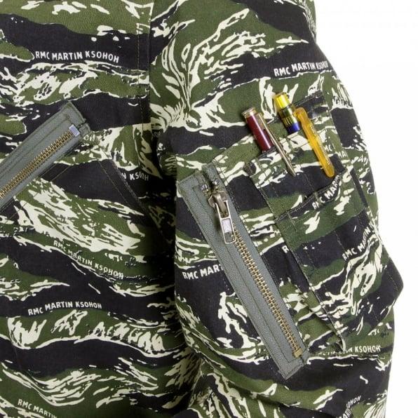 RMC MKWS Mens Camouflage Green Zip Up Regular Fit Bomber Jacket