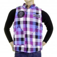 Mens Down Filled Purple and Blue Check Regular Fit Padded Gilet