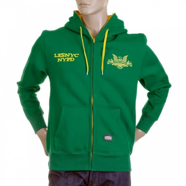 RMC MKWS Mens Kelly Green Hooded Zipped Regular Fit Sweatshirt