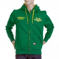 Mens Kelly Green Hooded Zipped Regular Fit Sweatshirt