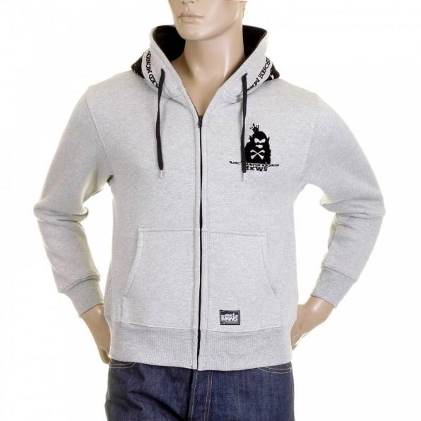 RMC MKWS Mens Marl Grey Hooded Zipped Regular Fit Sweatshirt
