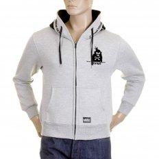 Mens Marl Grey Hooded Zipped Regular Fit Sweatshirt