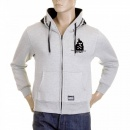 RMC MKWS Mens Marl Grey Hooded Zipped Regular Fit Sweatshirt