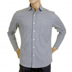 Mens Navy Check Penny Collar Long Sleeve Regular Fit Shirt