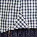 RMC MKWS Mens Navy Check Penny Collar Long Sleeve Regular Fit Shirt