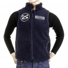 Mens Navy Plush Fleece Zip Up Sleeveless Regular Fit Vest Gilet