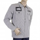 RMC MKWS Mens Padded Black And White Striped Regular Fit Zip Up Jacket
