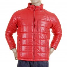 Mens Red Nylon Zip Up Down Filled Regular Fit Quilted Jacket