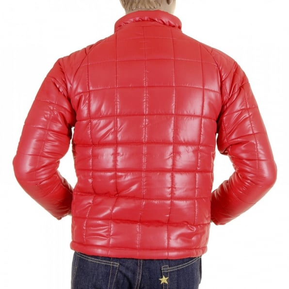 RMC MKWS Mens Red Nylon Zip Up Down Filled Regular Fit Quilted Jacket