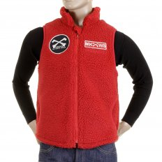 Mens Red Plush Fleece Zip Up Sleeveless Regular Fit Vest Gilet