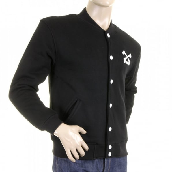 RMC MKWS Mens Regular Fit Zip Up Black Baseball Jacket