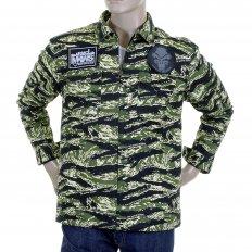 Mens Tiger Camo Green Zip Up Regular Fit Field Jacket