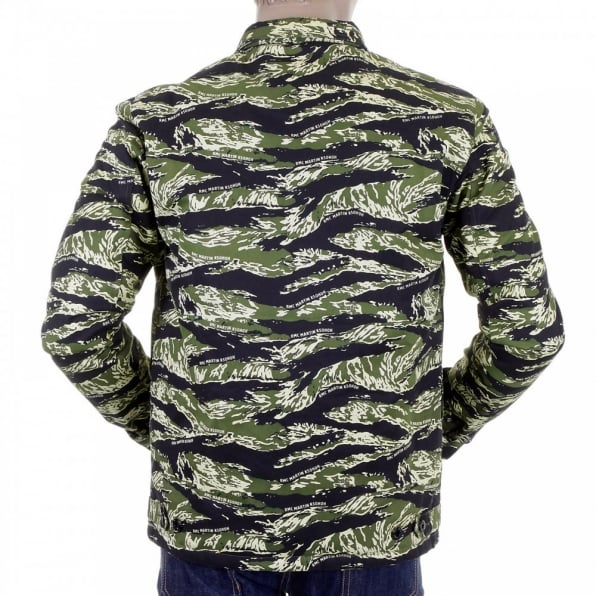 RMC MKWS Mens Tiger Camo Green Zip Up Regular Fit Field Jacket