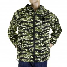 Mens Tiger Camo Green Zip up Regular Fit Hooded Windbreaker Jacket