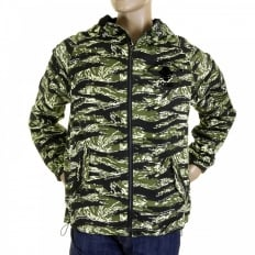 Mens Tiger Camo Green Zip up Regular Fit Hooded Windbreaker Jacket