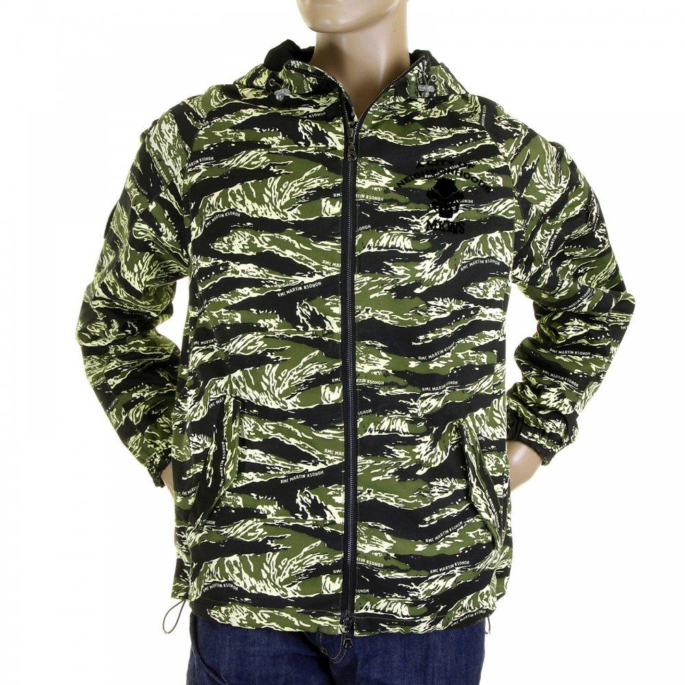 5a261964a3b RMC MKWS Mens Tiger Camo Green Zip up Regular Fit Hooded Windbreaker Jacket
