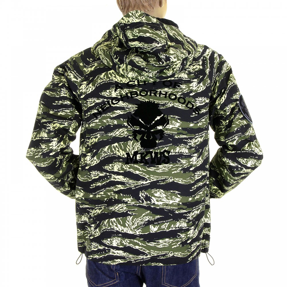 263dc9bb5ab ... RMC MKWS Mens Tiger Camo Green Zip up Regular Fit Hooded Windbreaker  Jacket ...