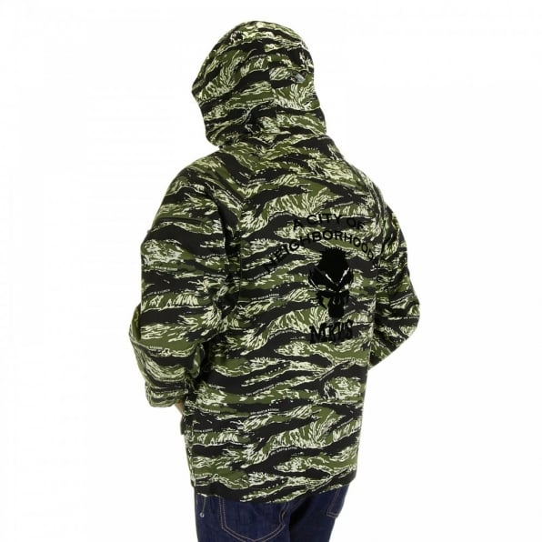 RMC MKWS Mens Tiger Camo Green Zip up Regular Fit Hooded Windbreaker Jacket