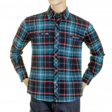 Mens Turquoise Check Button down Collar Long Sleeve Regular Fit Shirt