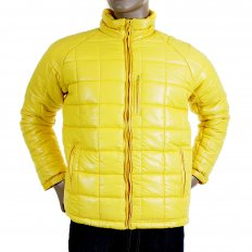 Mens Yellow Nylon Zip Up Down Filled Regular Fit Quilted Jacket