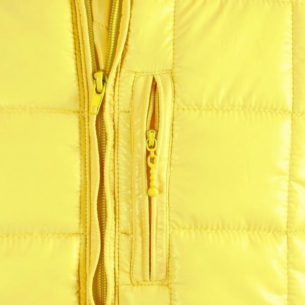 RMC MKWS Mens Yellow Nylon Zip Up Down Filled Regular Fit Quilted Jacket