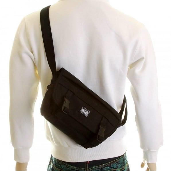 RMC MKWS nisex Black Canvas Shoulder Bag with Flap Closure