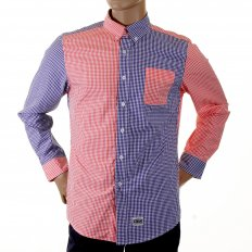 Red and Navy Button down Collar Long Sleeve Regular Fit Shirt
