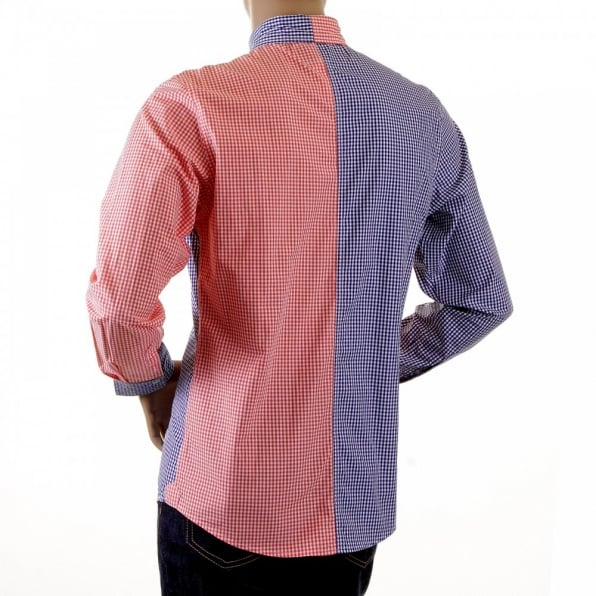 RMC MKWS Red and Navy Button down Collar Long Sleeve Regular Fit Shirt