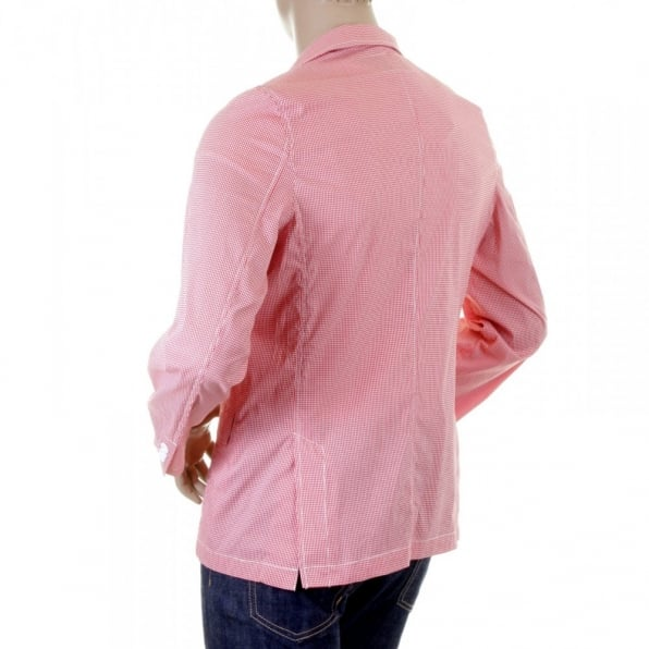 RMC MKWS Red and White Fine Check Slimmer Fit Cotton Lightweight Jacket