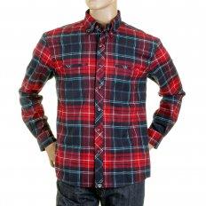 Red Check Button down Collar Long Sleeve Regular Fit Shirt