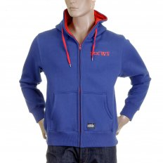 Royal Blue Hooded Zipped Regular Fit Sweatshirt
