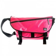 Unisex Bubblegum Pink Laminated Canvas Shoulder Cyclist Fashion Bag