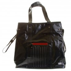 Unisex Coated Denim with Laminated Tartan Lining Shopper Bag