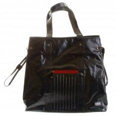 Unisex Coated Denim with Laminated Tartan Lining Shopper Bag
